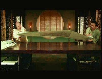 王旭与徐建光在北京奥运会开幕式上的装裱演示