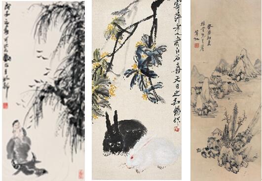 从左至右分别为:李可染《牧牛图》、齐白石《双兔图》、黄宾虹《疏林远山图》