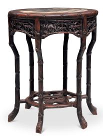 清 红木大理石竹节圆桌