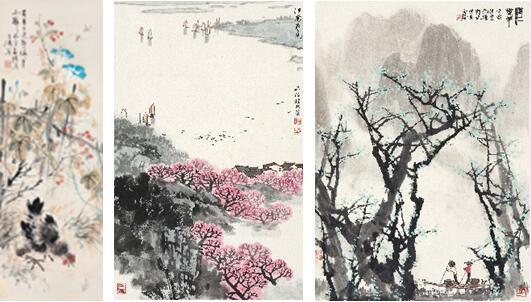 从左至右分别为:王雪涛《大吉图》、宋文治《江南春色》、白雪石《漓江春早》