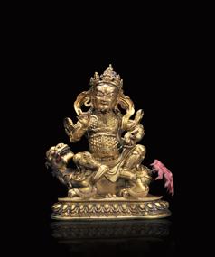 清乾隆 铜鎏金财宝天王像