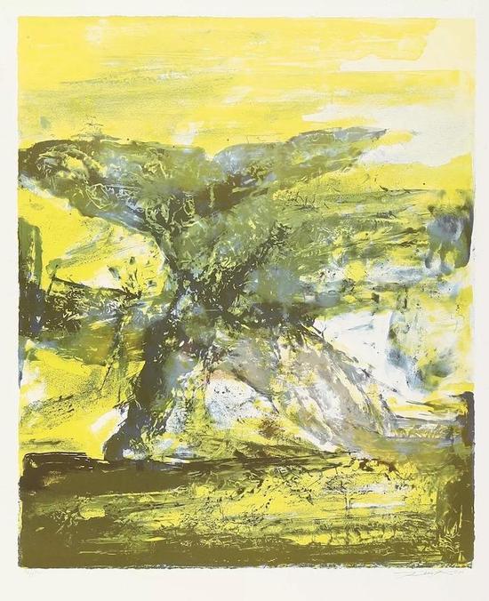 西泠网拍八月夏季大拍 赵无极(1921-2013)无题 纸本石版画