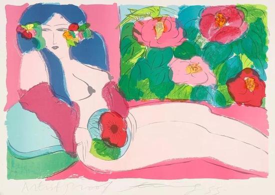 西泠网拍八月夏季大拍 丁雄泉(1920-2010)花丛中的女郎 纸本石版画