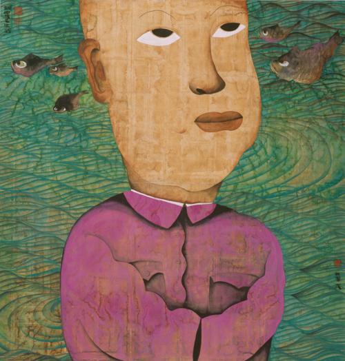甜蜜的生活二十一号 Sweet Life, No.21 水墨设色纸本 Ink and colour on paper 178 x 170 cm 1998 尤伦斯夫妇收藏 Mr. and Mrs. Ullens Collection
