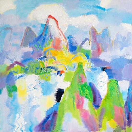 《日映岚光轻锁翠》,2008年,120×120cm