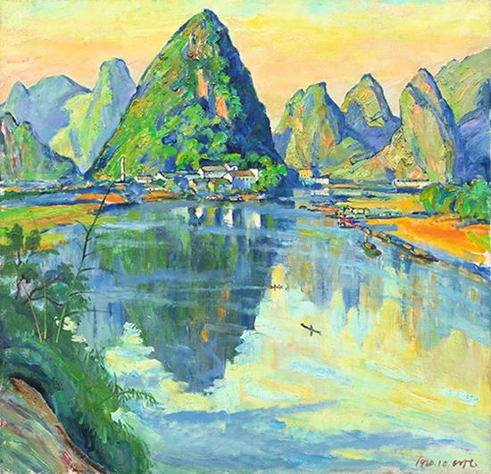 《桂林山水图》,1980年, 84x87cm