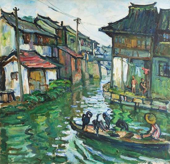 《水镇渔歌》,1982年, 84×87cm,中国美术馆馆藏