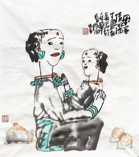 母子情深-杨晓阳69×69cm-纸本水墨