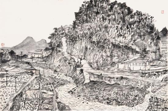 贵州凯里市桥镇写生2-方向-44×65cm-纸本水墨