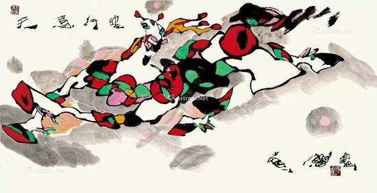 天马行空-赵贵德-136×68cm-纸本设色