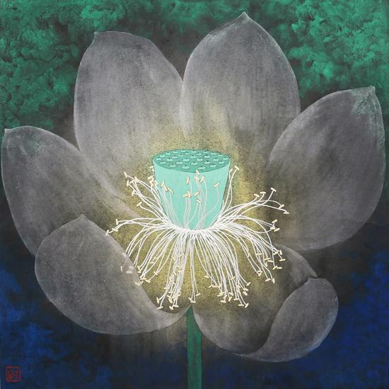 夏荷-蒋采萍-79×80cm-纸本设色