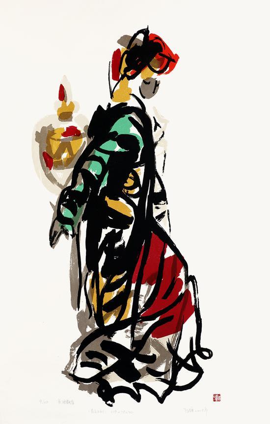 美酒飘香 丝网-阿鸽-109X78cm- 2008年