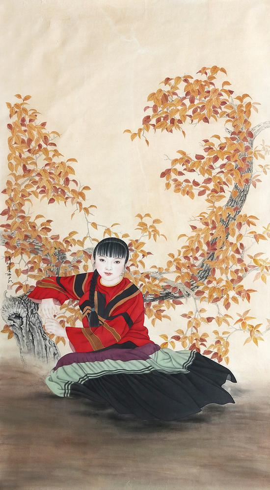 秋高图-崔西民-172×98cm-纸本设色