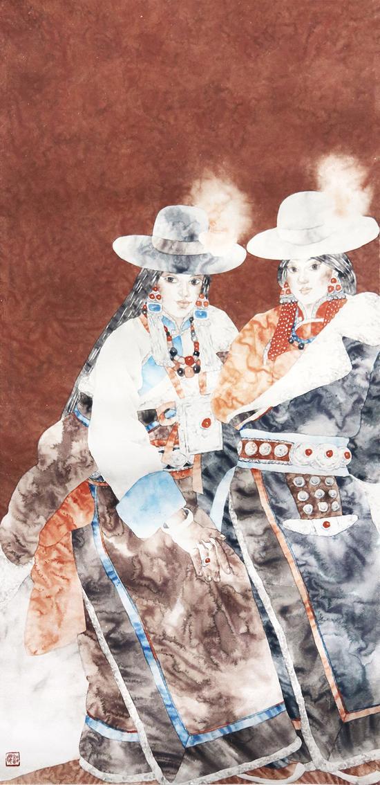 藏族姐妹-潘缨133×66cm-纸本设色