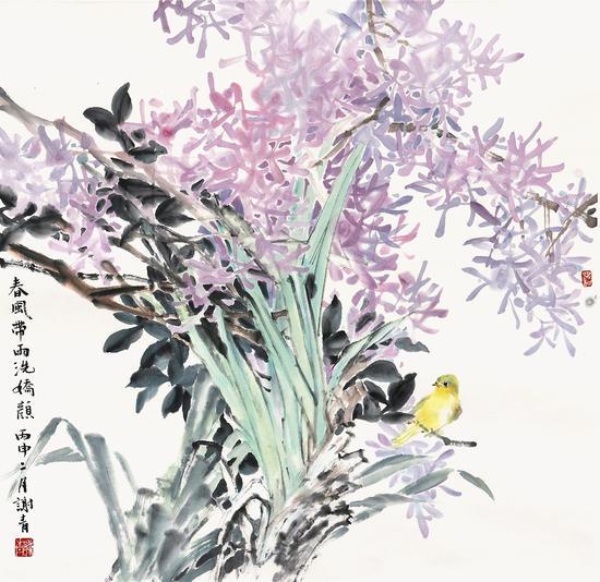 春风带雨洗娇颜-谢青-69×69cm-纸本设色