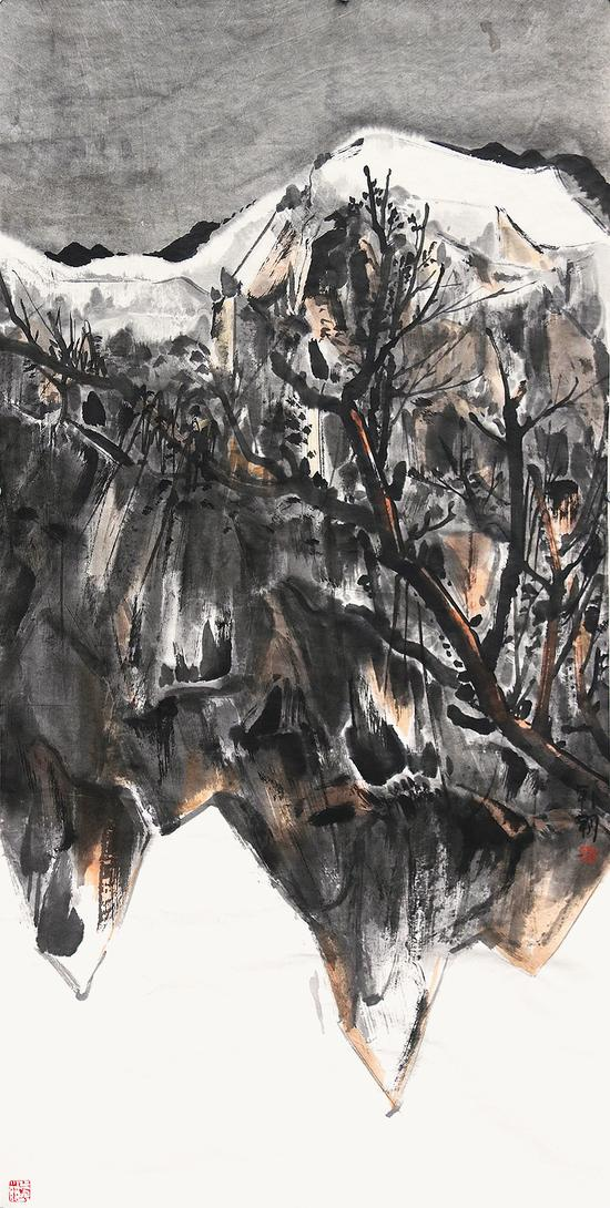 大山系列之二-韩朝-138×70cm-纸本水墨