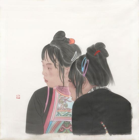 邑沙人-王骄艳-59×59cm-绢本设色