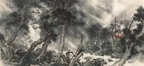 黎雄才《护林》 1959年 中国画 150x322.8cm 中国美术馆藏