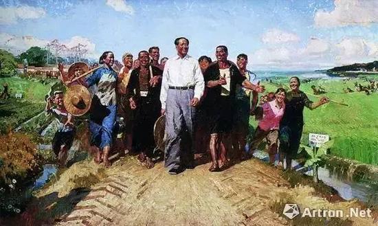 陈衍宁 《毛主席视察广东农村》 布面油画 1972年 龙美术馆藏