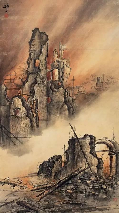 高剑父《东战场的烈焰》 1932年 中国画 166×92cm 广州艺术博物院藏