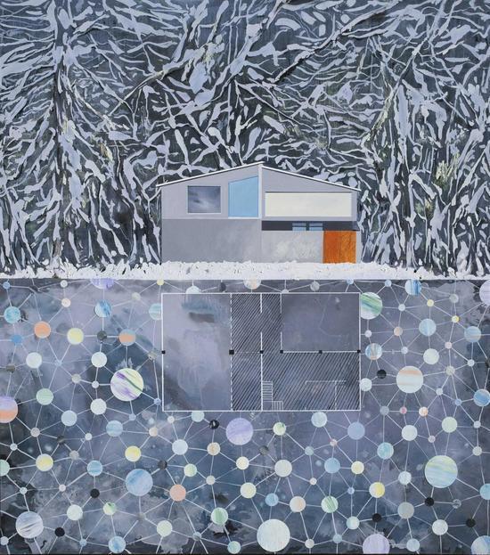 湖边工作室-正面-冬 150cm X170cm 布面油画 2016