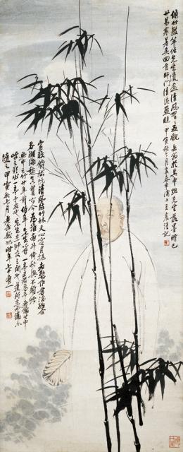 展出作品之一:《缶翁肖像图轴》,吴昌硕任伯年王一亭