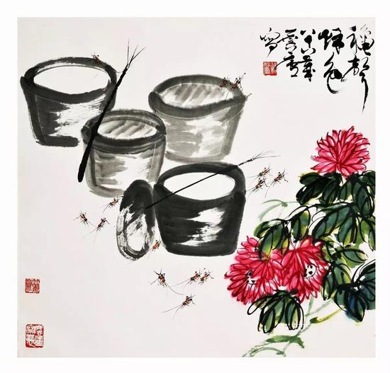 《秋声秋色》,许麟庐作,89cm×98cm