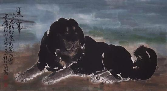 《黑虎》,许化迟画、许麟庐题字