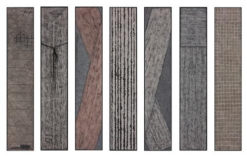 《琴》系列,徐静,126cm x 24cm x 7,岩彩,2016