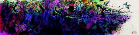 扬笛--怒放丝路3 136x35cm 纸本水墨 2016年