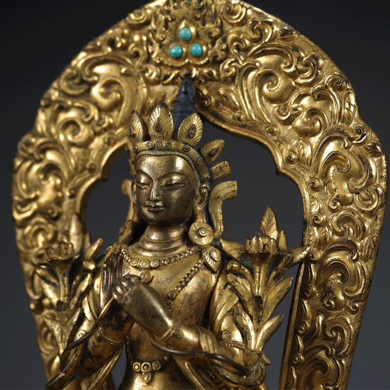 6.18世纪・铜鎏金弥勒坐像 无底价起拍,16.5万元成交