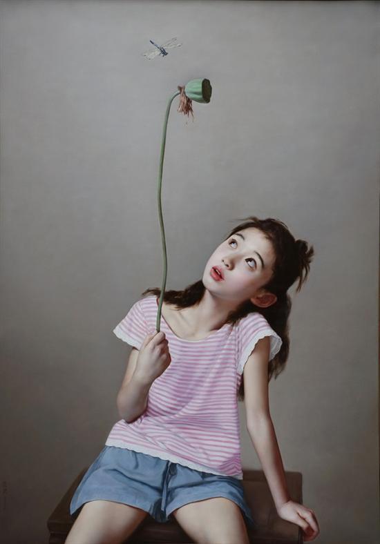 李贵君《蜻蜓》2016 132x113cm 布面油画