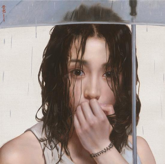 李贵君《雨巷》 2017 布面油画 35×35cm