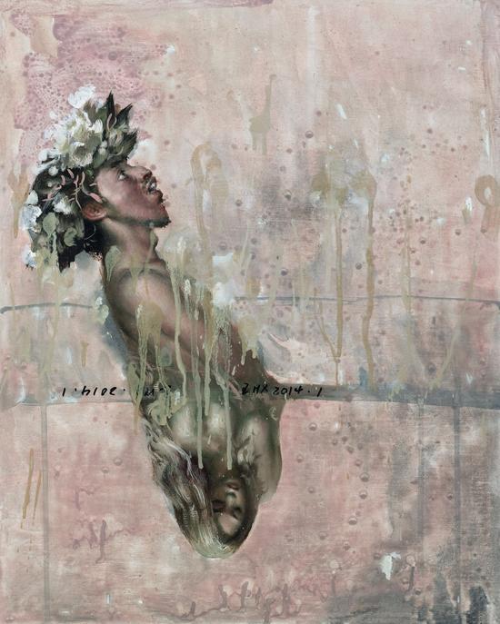 王华祥《男人的心里总住着一个女人Man's heart always lived with a woman 》 布面油画 40x50cm