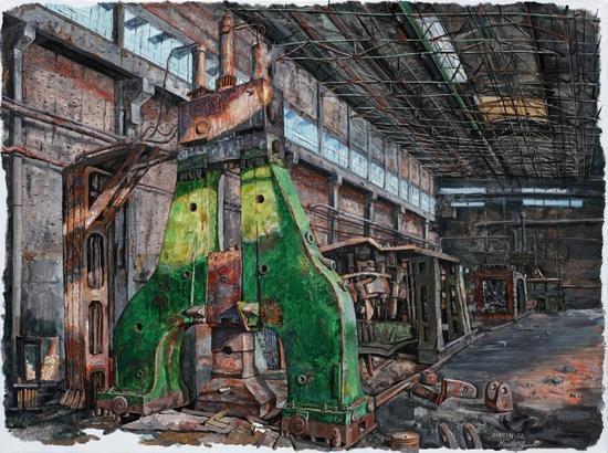 王海东 《逝去的辉煌 The past glory-the rolling workshop》 布面油画 90x120cm