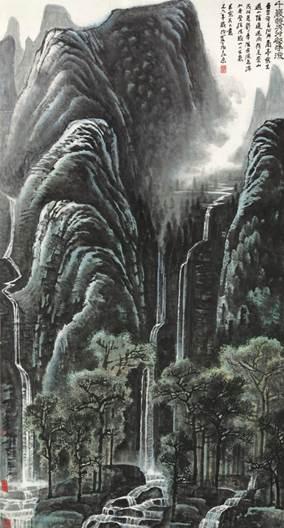 李可染《千岩竞秀万壑争流》,1978年作,设色纸本,立轴,171 x 94公分,估价待询