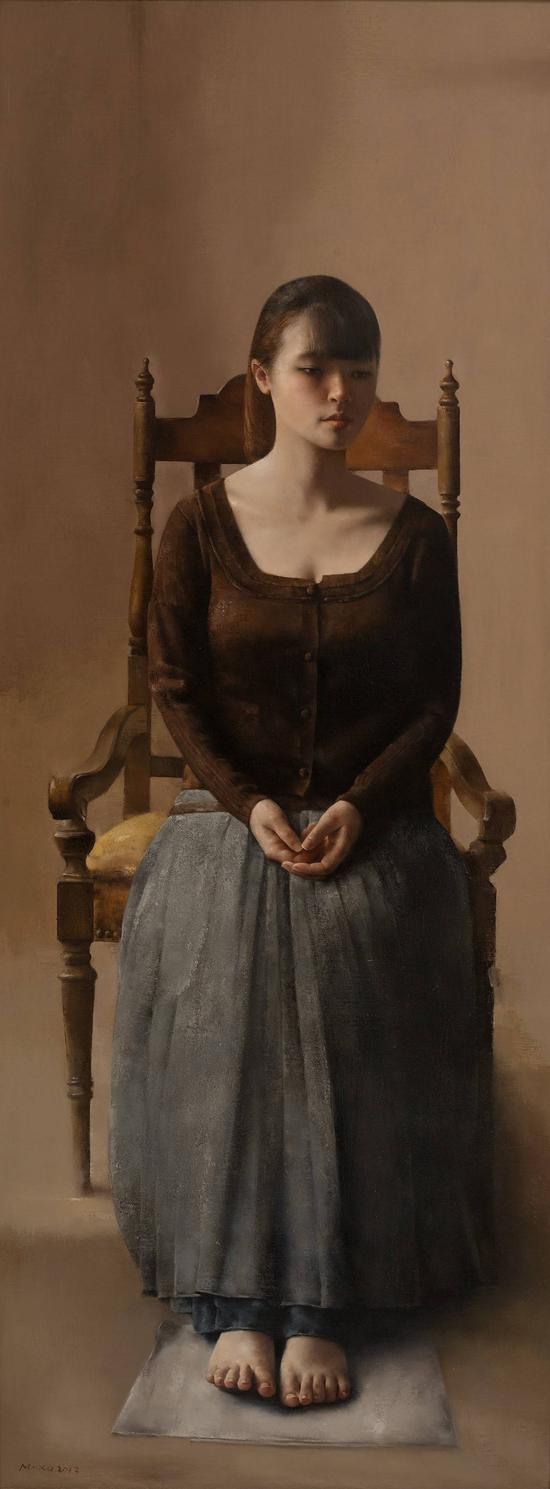 徐明 蓉蓉2 158x60cm 布面油画 2012年