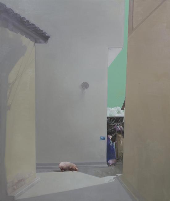 杨晖《桃园.山城巷NO.1 》 135x160cm 布面油画 2017