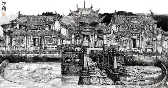 周河河2017年云南腾冲文昌宫写生作品  96×178cm