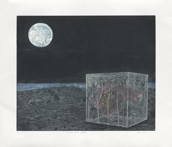 Thammasin Darunkan, The Moon's Embrace, Intaglio, 63.5x72.5cm