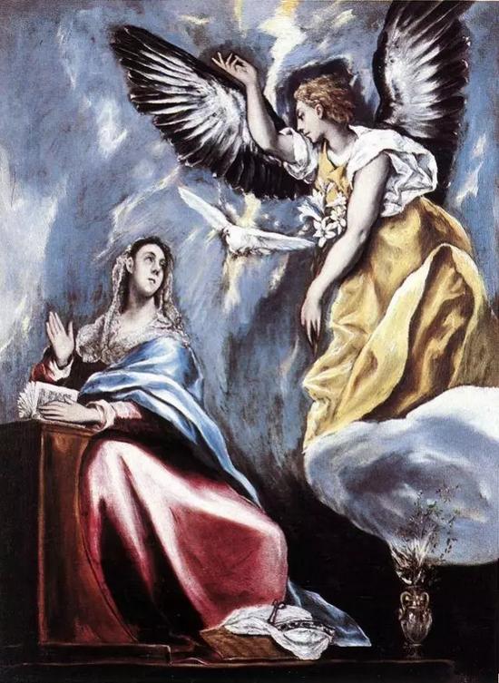 埃尔·格列柯《天使报喜》,布面油画,66.5×91cm