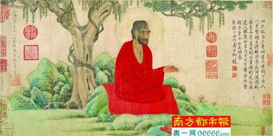 赵孟�\ 《红衣罗汉图卷》,辽宁省博物。