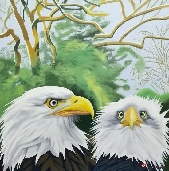 王向明作品-巨人的花园二 布面油画 50x50cm 2016-2017年