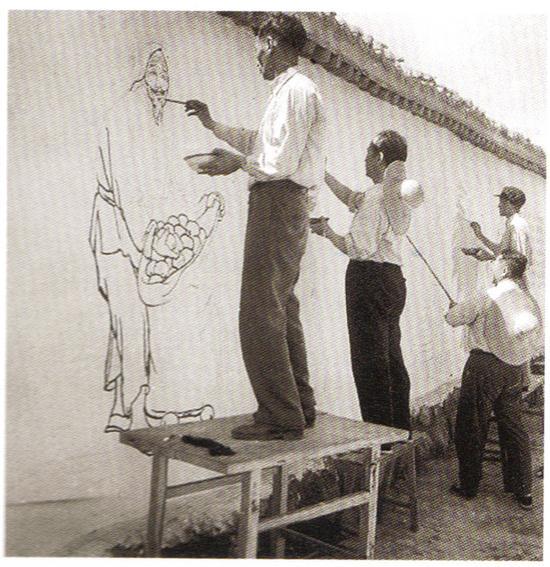 1958年,蒋兆和画壁报