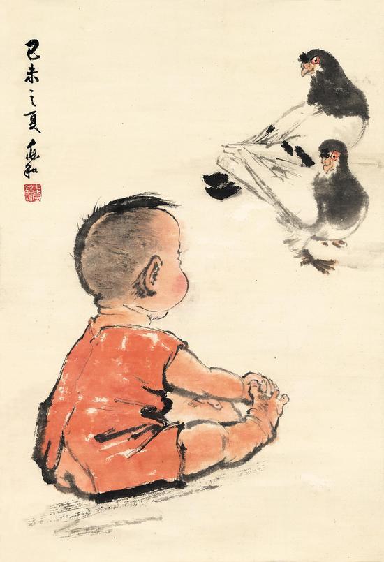 蒋兆和 小孩与双鸽子 68X50cm,1979年