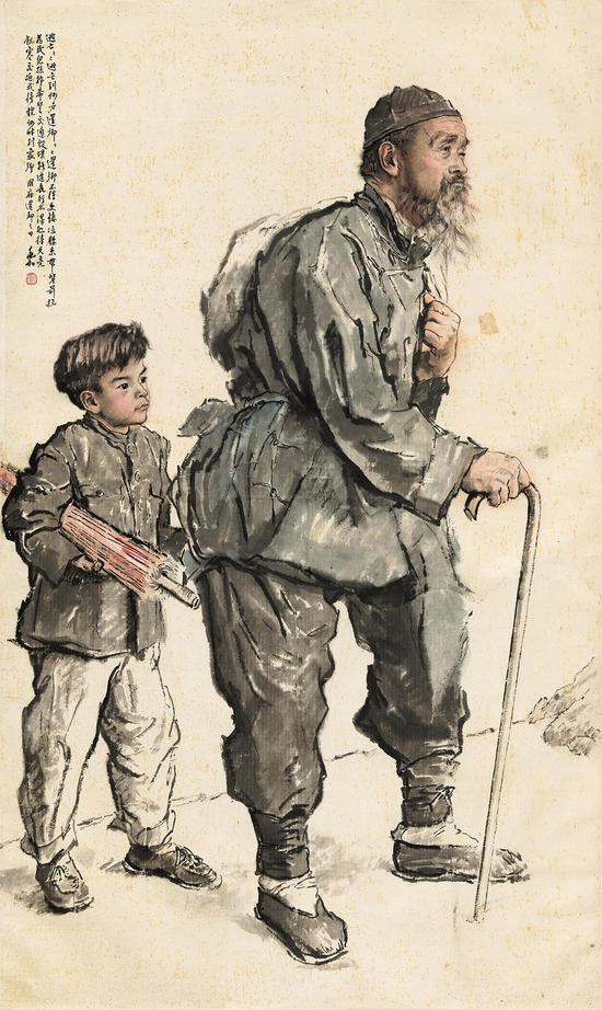 蒋兆和 还乡 181X109cm,1952年