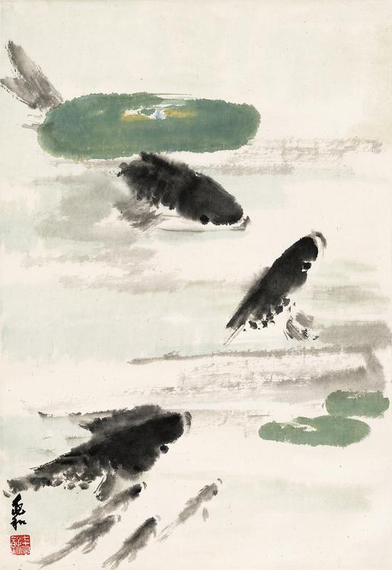 蒋兆和 七条鱼 40X68cm,1979年