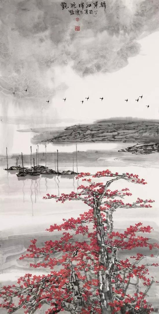 国画《韩江红棉艳艳》 137cm×68cm