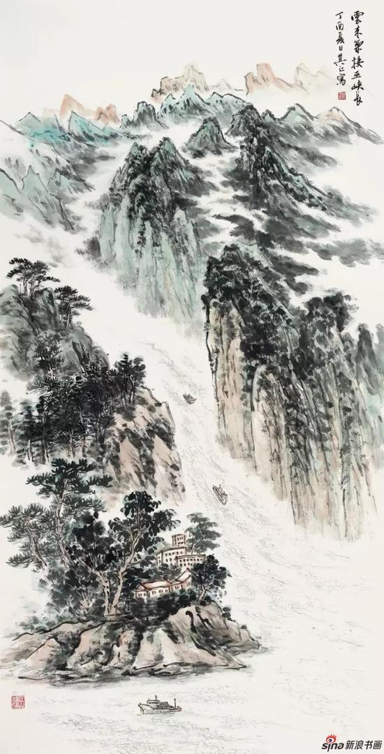 国画《云来气接巫峡长》 137cm×68cm