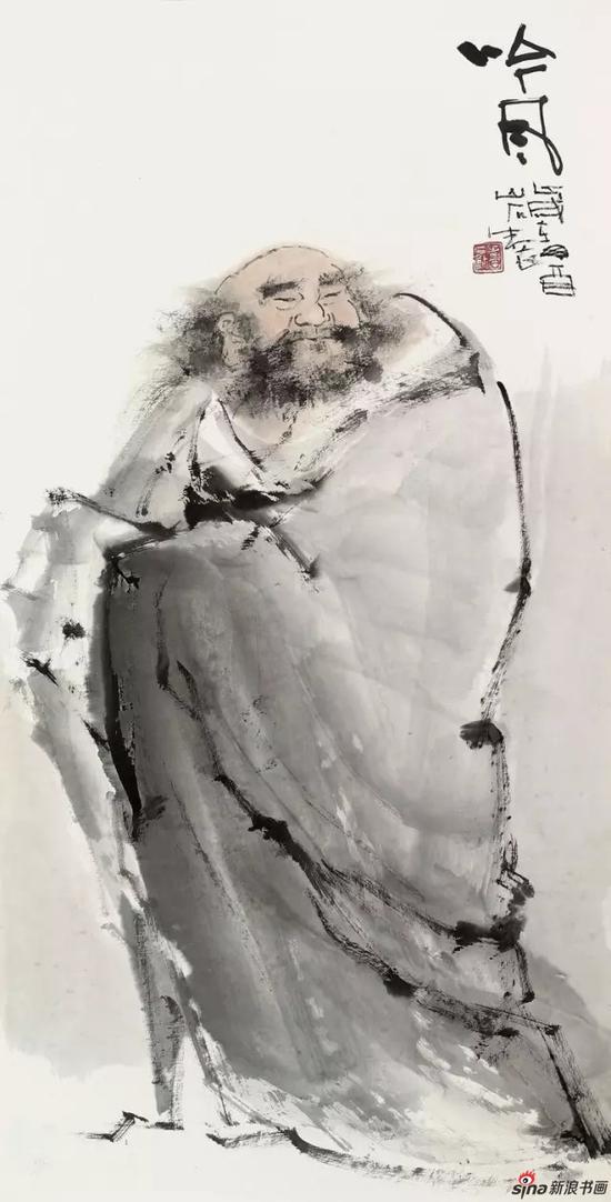 国画《吟风》 97cm×49cm